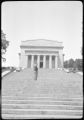 Roman L. Kwasniewski standing on the steps of the Lincoln Memorial Hall on Lincoln Farm near Hodgenville, KY