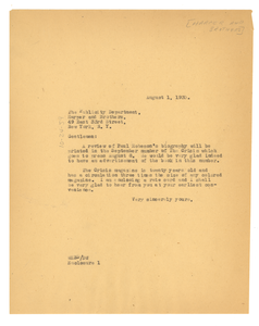 Letter from W. E. B. Du Bois to Harper & Brothers