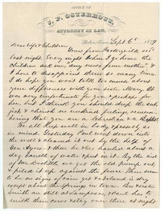Letter from John Patterson Osterhout to Junia Roberts Osterhout to Family, September 6, 1879