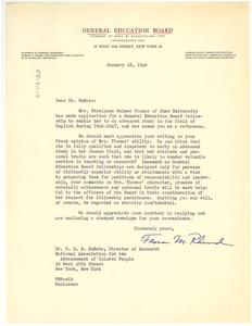 Letter from General Education Board to W. E. B. Du Bois