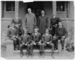 Men in Training at Springfield YMCA College. L. L. Doggett, upper row, second from left; Jesse Moorland, to right of Doggett; Max Yergan, upper row, right-most.