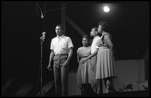The Freedom Singers performing on stage, Newport Folk Festival From left: Charles Neblett, Bernice Johnson Reagon, Cordell Reagon, Rutha Harris