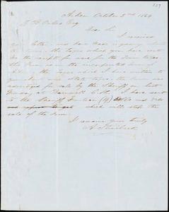 A. J. McElveen, Sumterville, S.C., autograph letter signed to Ziba B. Oakes, 2 October 1854