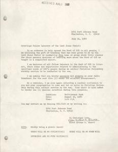 Letter from Elder Arthur N. Bluntt, July 31, 1980