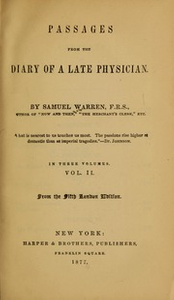 Passages from the diary of a late physician, 2