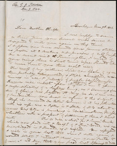 Letter from George Jeffrey Tillotson, Brooklyn, [Conn.], to Amos Augustus Phelps, 1844 Mar[ch] 9th