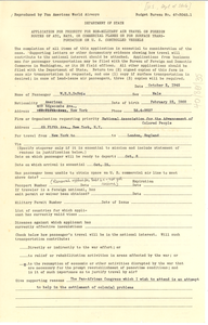 Application for Priority Travel