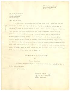 Letter from Horace Mann Bond to W. E. B. Du Bois