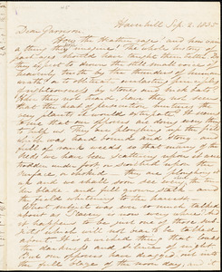 Letter from Samuel Joseph May and Harriet Minot Pitman, Haverhill, [Massachusetts], to William Lloyd Garrison, 1835 Sep[tember] 2