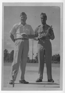 Photograph of Sergeant Albert Dixon being welcomed home from the Korean War, Manchester, Georgia, 1953