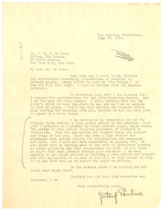 Letter from Wiggins Trade School to W. E. B. Du Bois