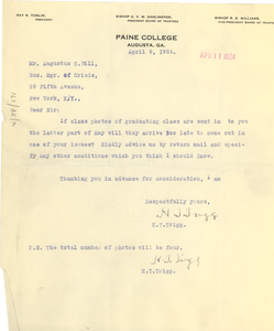 Letter from Paine College to Crisis