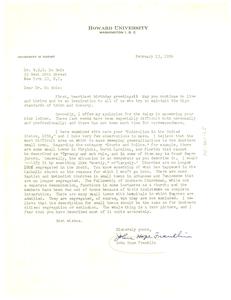 Letter from John Hope Franklin to W. E. B. Du Bois