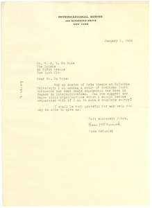 Letter from Rosa McKusick to W. E. B. Du Bois
