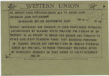 Telegram from Reverend Fred Shuttlesworth in Birmingham, Alabama, to Governor John Patterson in Montgomery, Alabama.