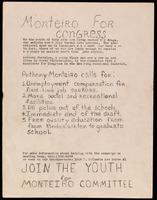 Handbill. Monteiro for Congress