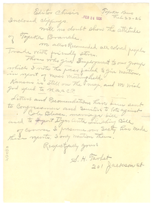 Letter from S. H. Tarbet to Editor of the Crisis