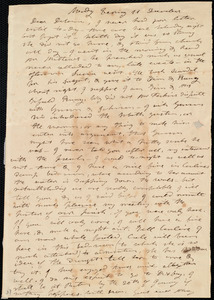Letter from Mary Weston to Deborah Weston, Monday Evening, 11 December [1837?]