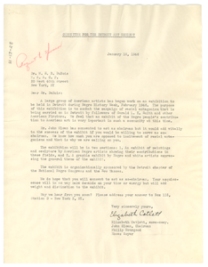 Letter from Committee for the Detroit Art Exhibit to W. E. B. Du Bois