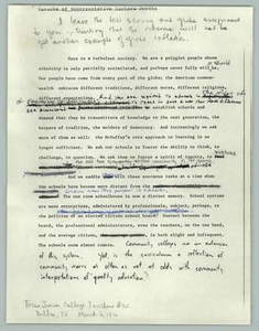Draft of Speech to Texas Junior College Teachers Association, March 6th, 1976 Texas Senate Papers