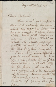 Letter from Emma Forbes Weston, Weymouth, [Mass.], to Deborah Weston, April 18, [1839?]
