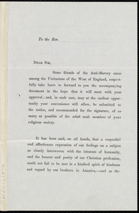 Circular letter from the Unitarians of the west of England to Samuel May, Bristol, August 1st, 1847