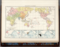 "Religions of the World. (with 3 insets) Distribution of Europeans. Distribution of Chinese. Distribution of Negroes. (Published at the office of ""The Times,"" London, 1900). The Times Atlas ; (New Edition). Containing 132 Pages of Maps, and comprising 196 Maps and an Alphabetical Index to 150,000 Names. Published at the Office of The Times, Printing House Square, London, E.C. 1900. Religions of the World"