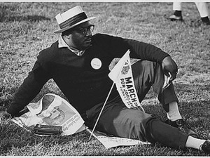 Civil Rights March on Washington, D.C. [A male marcher relaxing.], 08/28/1963