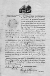Manumission certificate for William Steward, mariner granted citizenship. Ship and dock scene at top