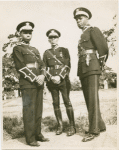 Three Universal African Legion officers: Lt. J. Harris, Major T. Wallace and Lt. I. Dinzey