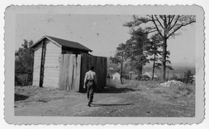 Photograph of an outhouse at the African American school, Manchester, Georgia, 1953