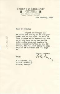 Letter from Farrar and Rinehart to W. E. B. Du Bois