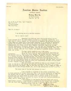 Letter from the American Service Institute to W. E. B. Du Bois