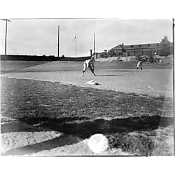 Baseball game at Greenlee Field, view towards second base