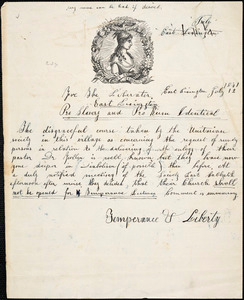 Letter from Temperance & Liberty, East Lexington, [Massachusetts], to William Lloyd Garrison, 1841 July 12