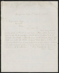 John Brown autograph letter signed to Thomas Wentworth Higginson, Springfield, Mass., 1 April 1857