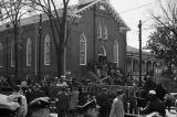 African Americans on the steps of Dexter Avenue Baptist Church in Montgomery, Alabama, probably preparing to march to the Capitol in protest of local segregation laws.