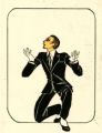 Costume design drawing, performer in a black suit and white spats, Las Vegas, June 5, 1980