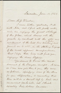 Letter from Samuel May, Leicester, [Mass.], to Miss Weston, Jan. 4, 1855