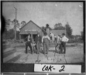 Photograph of men near railroad tracks, Sparks, Cook County, Georgia, ca. 1906