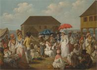 Linen Market, Dominica; Linen Day, Roseau, Dominica - A Market Scene, c.1780