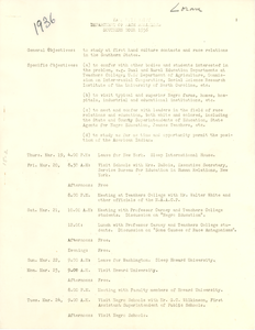 Yale University Dept. of Race Relations Southern Tour Itinerary