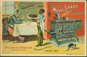 Trade card for Spicers & Peckham's new Model Grand Portable Range, Spicers & Peckham, Providence, Rhode Island, ca. 1885