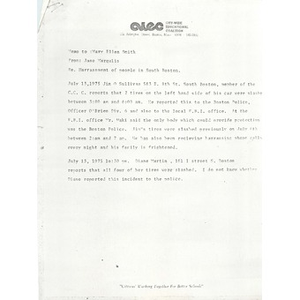 Memo and report, Harassment of people of South Boston, July, 1975.