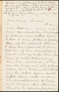 Letter from Lydia Mott, Albany, [N.Y.], to William Lloyd Garrison, May 8 1861