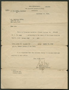 Letter from the War Department to Cpl. Lawrence Leslie McVey