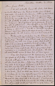 Letter from Samuel May, Leicester, [Mass.], to Richard Davis Webb, October 31, 1859