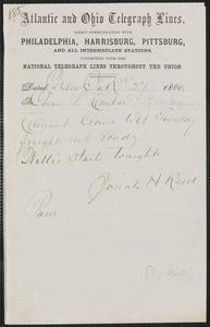 Richard J. Hinton telegram to [Thomas Wentworth Higginson], New York, 27 [February] 1860