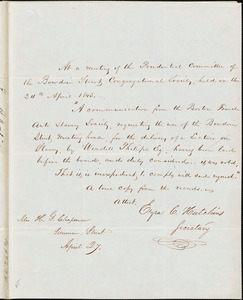 Letter from Ezra C. Hutchins, Boston, [Massachusetts], to Maria Weston Chapman, 1843 April 27