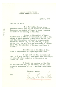 Letter from Anson Phelps Stokes to W. E. B. Du Bois